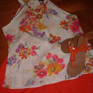 Rafaella Size XL Cream High Neck Shirt NWT